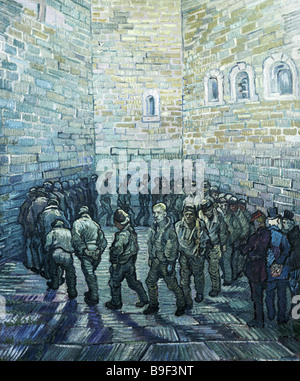 The prison Courtyard by Vincent van Gogh 1889 Reproduction Collection of the State Pushkin Museum of Fine Arts in - Stock Photo