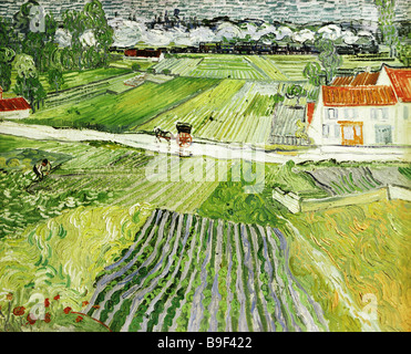 Reproduction of Vincent van Gogh s 1853 1890 painting Landscape of Auvers After Rain from the Pushkin Fine Arts - Stock Photo