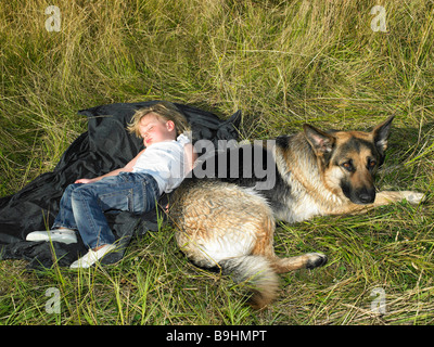 Girl sleeping,  dog watching - Stock Photo