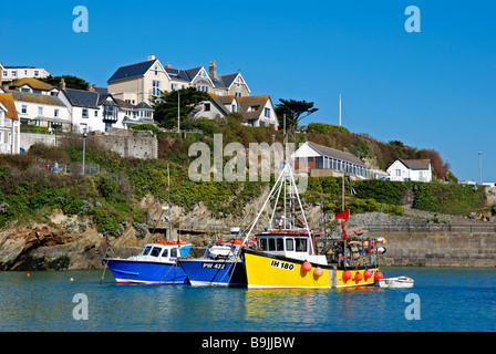 fishing boats in the harbour at newquay,cornwall,uk - Stock Photo