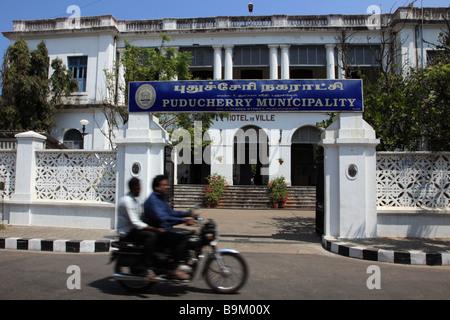 India Puducherry Pondicherry Town Hall Hotel de Ville - Stock Photo