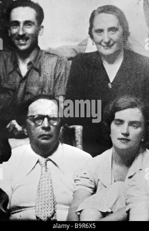 Writer Alexei Tolstoy front left his wife Lyudmila front right and Dolores Ibarruri in Madrid - Stock Photo