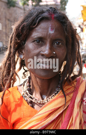 Portrait of Female Sadhu With Dreadlocks - Stock Photo