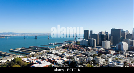 The Oakland Bay Bridge and financial district from the top of the Coit Tower onTelegraph Hill, San Francisco, California - Stock Photo