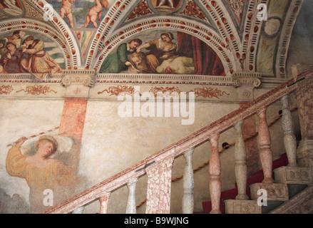 Fresco at the Loggia del Romanino Castello del Buonconsiglio Trient Trento Trentino Italy - Stock Photo
