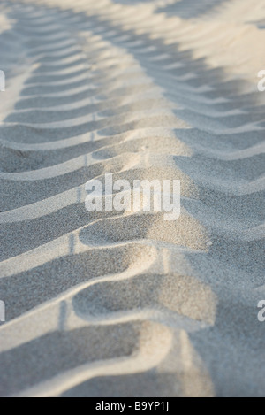 Tire track on sand, close-up - Stock Photo