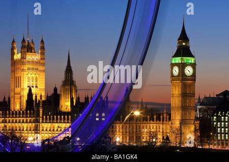 Millennium Ferris Wheel (London Eye) and Big Ben, London, England, United Kingdom - Stock Photo