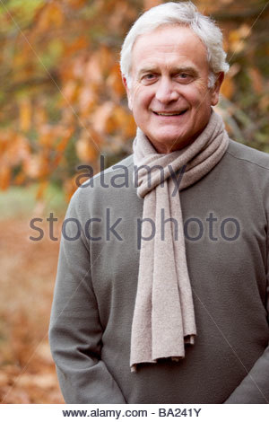 A portrait of senior man smiling - Stock Photo