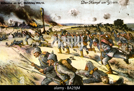 BATTLE OF YPRES  as shown on a German postcard which mentions both battles there as Battle of Ypres 1914/1915 - Stock Photo