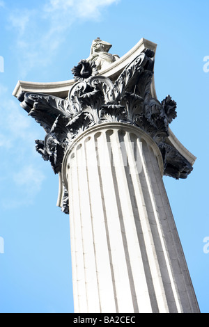Nelson's Column In Trafalgar Square, London, England - Stock Photo
