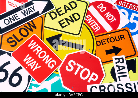 Group Of Road Signs - Stock Photo