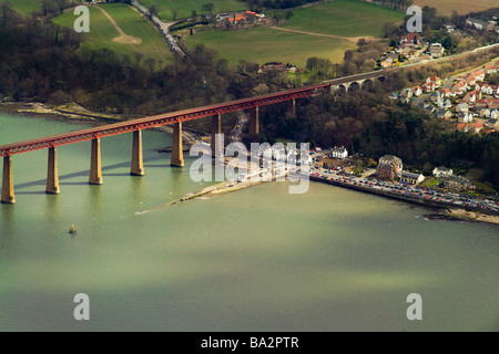 photograph of aerial view of forth rail bridge and south queensferry - Stock Photo