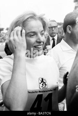 Sixties, black and white photo, sports, athletics, German Championships in Athletics 1965 in Duisburg, Wedau Stadium, - Stock Photo