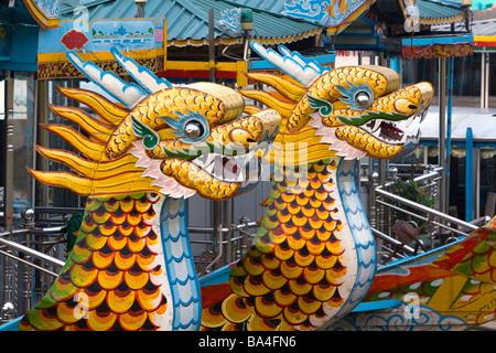 Dragon boats on the Perfume River at Hue Vietnam - Stock Photo