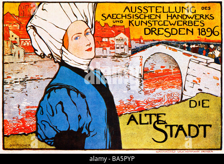 Alte Stadt Dresden 1896 poster for an exhibition of Saxon arts and crafts in the regional capital - Stock Photo