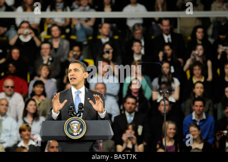 US president Barack Obama talking during a conference organised at the NATO summit in Strasbourg, France. - Stock Photo