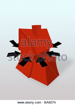 Arrows squeezing house - Stock Photo