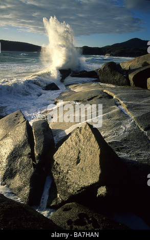 Close up of granite rocks near Whisky Bay, Wilsons Promontory National Park, Victoria, Australia - Stock Photo
