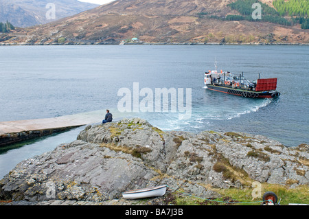 The Glenelg car and passenger ferry on its 400yard crossing to the Isle of Skye Highland Scotland    SCO 2363 - Stock Photo