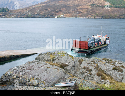 The Glenelg car and passenger ferry on its 400yard crossing to the Isle of Skye Highland Scotland     SCO 2362 - Stock Photo