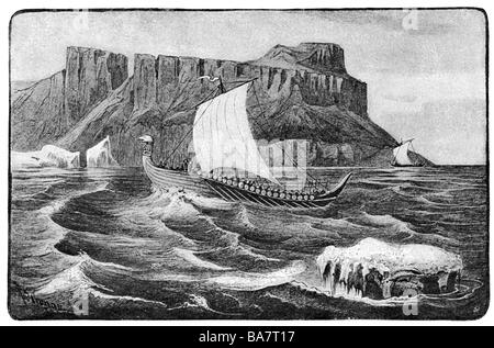 middle ages, Vikings, Viking ships at the West Coast of Greenland, circa 1000, wood engraving after drawing by Rudolf - Stock Photo