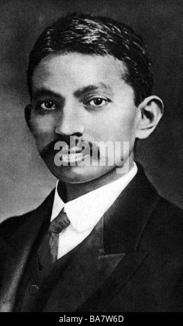 Gandhi, Mohandas Karamchand called Mahatma, 2.10.1869 - 30.1.1948, Indian politician, portrait, as young man, - Stockfoto