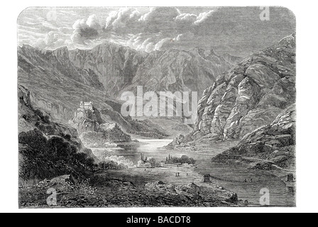 fort of kartsabrusha on the indus Valley Civilization Pakistan 1865 - Stock Photo