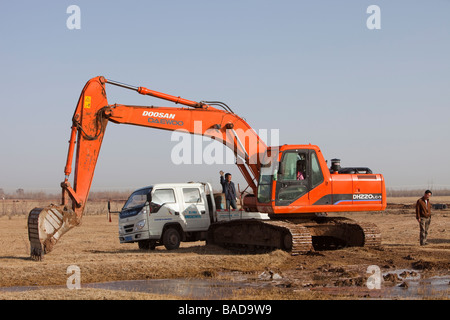 Digging into a dried up lake bed to try and find water near Donsheng in Inner Mongolai,China - Stock Photo