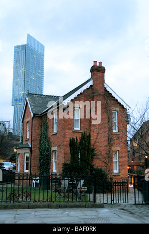 Industrial building in castlefield manchester with railway line stock photo royalty free image - The chapel cottage historic vestige in contemporary lines ...