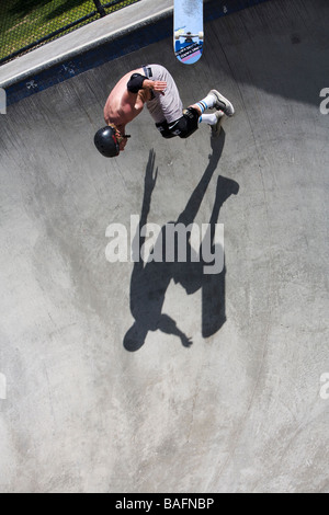 Skateboarder doing tricks Culver City Skateboard Park Culver City Los Angeles County California United States of - Stock Photo