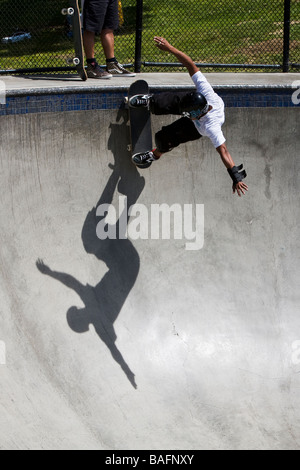 Skateboarder doing tricks Culver City Skateboard Park Culver City Los Angeles County California United States of - Stock Photo