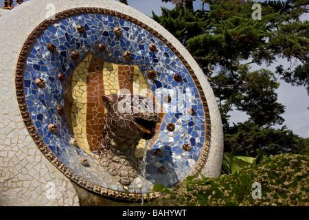 Mosaic dragon fountain Guell Park Barcelona - Stock Photo