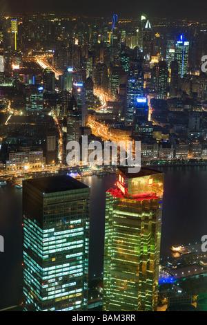 Shanghai and huangpu river at night - Stock Photo