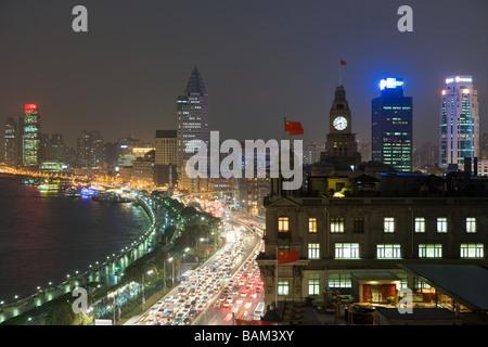 The bund shanghai at night - Stock Photo