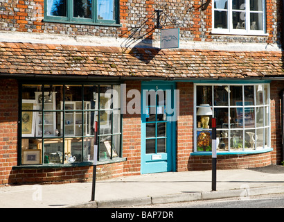 A quaint old bay fronted art and craft shop or gallery in the typical English market town of Marlborough Wiltshire - Stock Photo