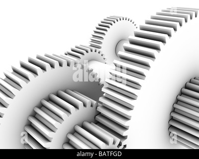 Gear wheels, computer artwork. Gear wheels, orcogs, transmit rotational force within machines. - Stock Photo