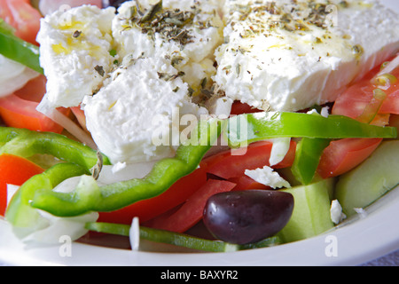 Greek salad with feta cheese, Close-up - Stock Photo