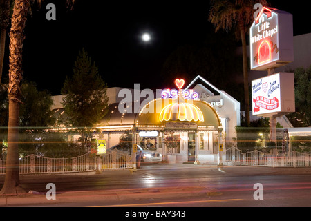 a little white chapel on las vegas boulevard the strip stratosphere stock photo royalty free. Black Bedroom Furniture Sets. Home Design Ideas