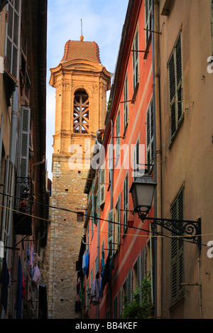 Steeple and windows in old town Nice on the French Riviera - Stock Photo