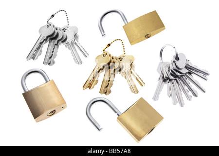 Padlocks and Keys - Stock Photo