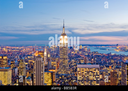 New York Skyline Manhattan New York City Skyline Empire State Building View of New at Dusk - Stock Photo
