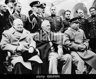 events, Second World War / WWII, conferences, Yalta Conference, 4.2.1945 - 11.2.1945, Winston Churchill, Franklin - Stock Photo