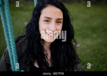 Portrait of Teenager Girl in the green - Stock Photo