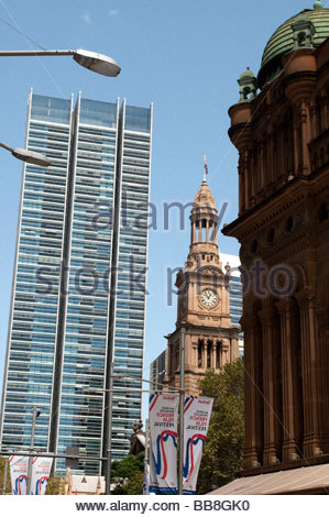 Town Hall Tower Central Business District Sydney NSW Australia - Stock Photo