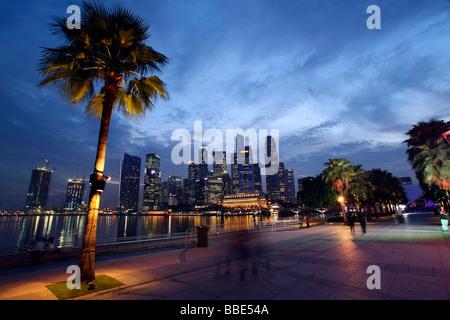 Marina Bay, skyline, Singapore, Asia - Stock Photo