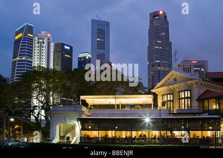 Skyline of Singapore, Singapur,  South East Asia twilight - Stock Photo