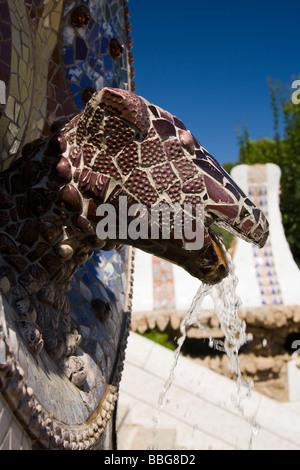 Lizard fountain in Guell park Barcelona Spain - Stock Photo