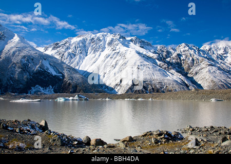 Tasman Glacier Lake Mount Cook National Park South Island New Zealand - Stock Photo