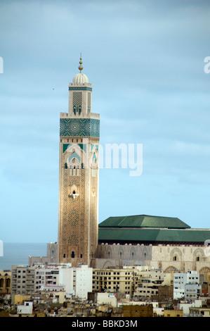 Hassan II Mosque hassan mosque casablanca morocco large largest third religion muslim church travel atlantic ocean - Stock Photo