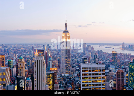 Aerial view of the Manhattan Skyline with the Empire State Building, New York City. - Stock Photo
